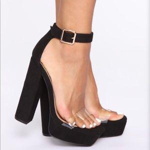 Black/Clear Platform Heeled Sandal